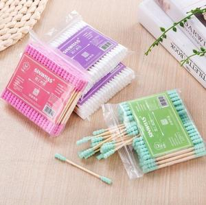 100pcs / pack double head cotton bud for women makeup Cotton tip for wooden medical sticks nose ears cleaning health care tools