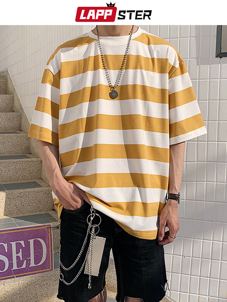 LAPPSTER Tshirt Hip-Hop Funny Men Streetwear Male Vintage Yellow Striped Mens Fashion