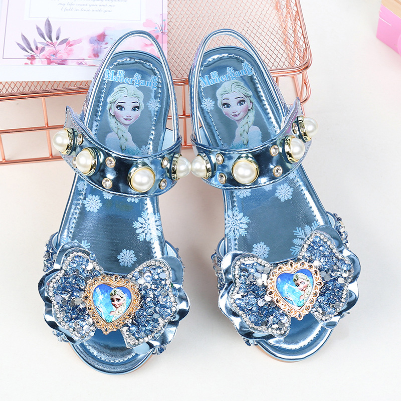 Disney Summer New Girls Flat Casual Shoes  Sandals Children Princess Shoes Big Children Fish Mouth Shoes Frozen Crystal Shoes