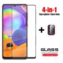4 en 1 para Samsung Galaxy M31 Glass M51 M21 A51 A01 A31 A41 A71 Lente de cámara de vidrio templado Protector de pantalla de vidrio Samsung A21S