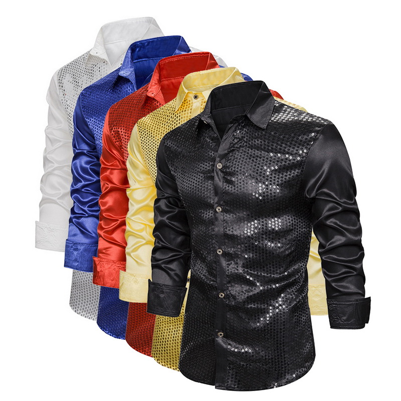 Fashion Men Luxury Sequin Glitter Shirts New Long Sleeve Silk Satin Shiny Disco Party Shirt Men Top Stage Dance Prom Costume