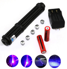 High power Hunting blue laser pointers Rechargeable Adjustable Focus focusable 450nm powerful  Lazer sight Burning Match high powered burning 1000000mw blue laser 450nm 10000mw red 532nm 10000mw green 3 in 1 focusable laser pointers burn cigarettes