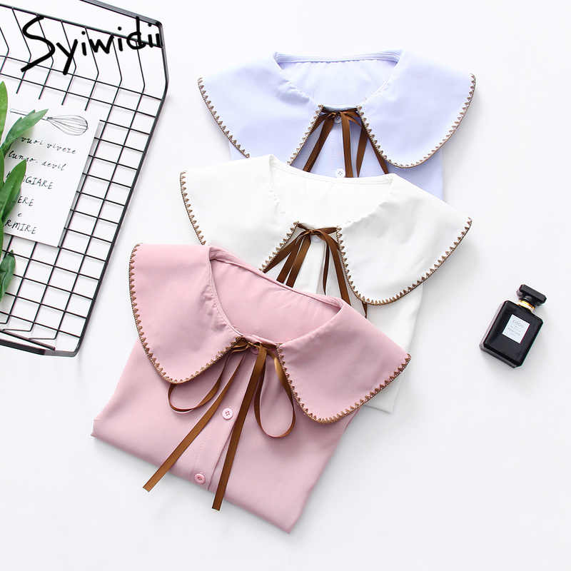 Feminine blouse shirts women Preppy style embroidery peter pan collar chiffon cute blouses Flare sleeve bow lace up school tops