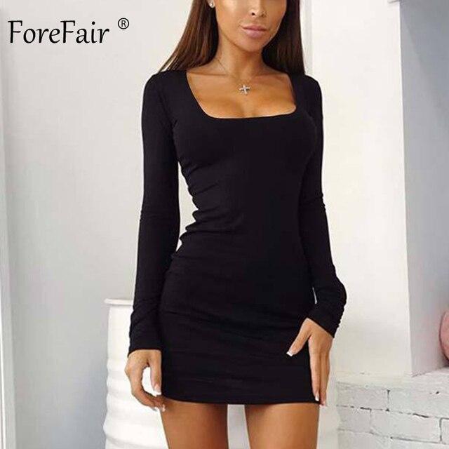 Forefair Manica Lunga Sexy Vestito Aderente Donne 2019 Club Autunno di Base Solido Collo Quadrato Bianco Rosso Nero Donna Mini Vestito inverno