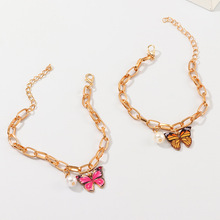 Wholesale 2020 New Jewelry Fashion Pink Butterfly Pendant Pearl Bracelet For Women Statement Chain Gold Girl Birthday Gifts Chic 2020 new korean vintage star and moon rhinestone bracelet for women gold pearl girl bracelet gifts fashion jewelry accessory