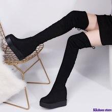 Женские высокие сапоги со скрытым каблуком до бедра зимняя обувь