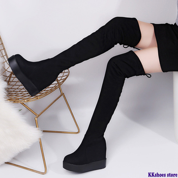 2020 Winter Women High Boots Fashion Hidden Heel Woman Long Boot Thigh High Boots For Women Winter Platform Shoes haraval handmade winter woman long boots luxury flock round toe soft heel shoes elegant casual warm retro buckle solid boots 289