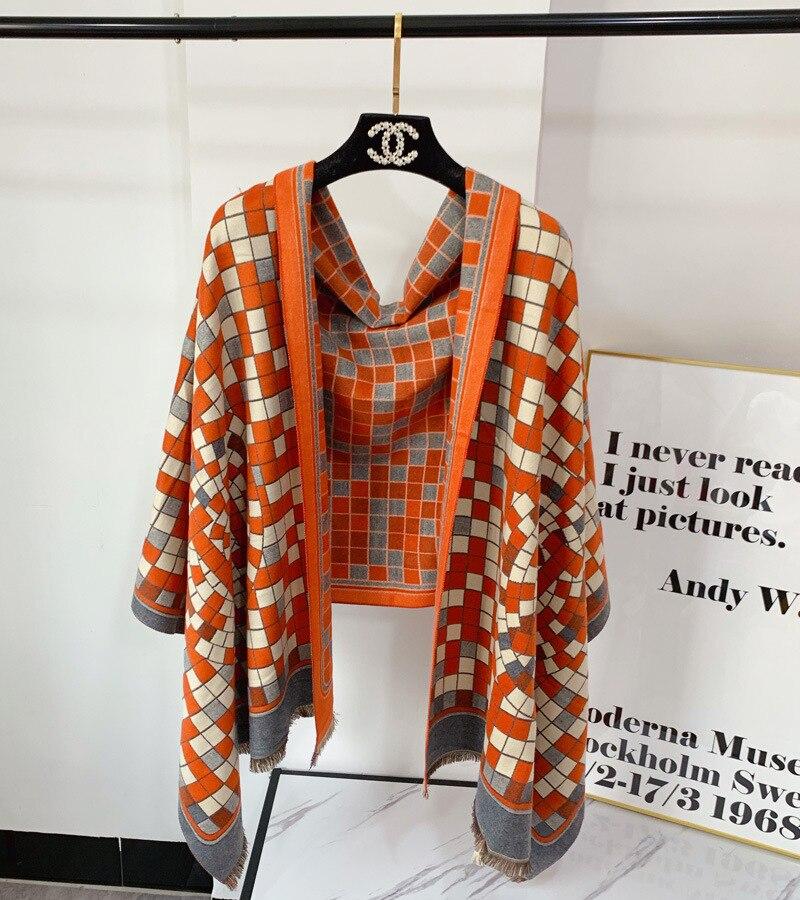 Factory New Long Keep Warm Thickening Joker Shawl office air conditioning shawl imitation cashmere winter versatile warm cloak