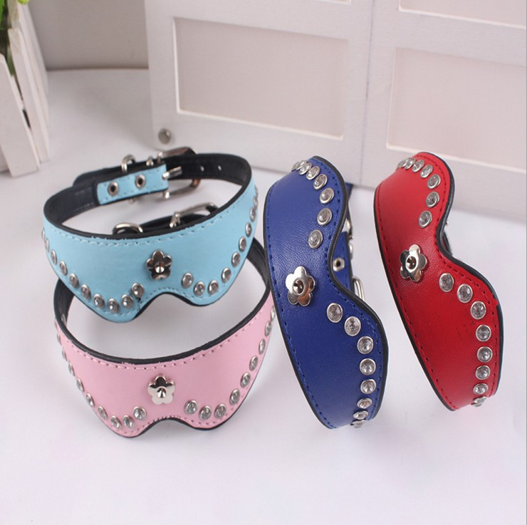 Pet Supplies Pet Pu Neck Ring Plum With Diamond Dog Neck Ring Small Dogs Neck Ring Puppy Neck Ring Manufacturers Direct Selling