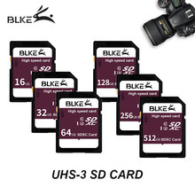BLKE SD card 16GB 32GB SDHC 64GB 128G 256GB SDXC Class10 Memory Card USH-3 Support for Canon Nikon Sony Panasonic Ricoh Camera