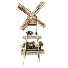 creative windmill flower stand decoration home balcony soft decorations wooden shelf milk coffee shop floor flower stand(China)