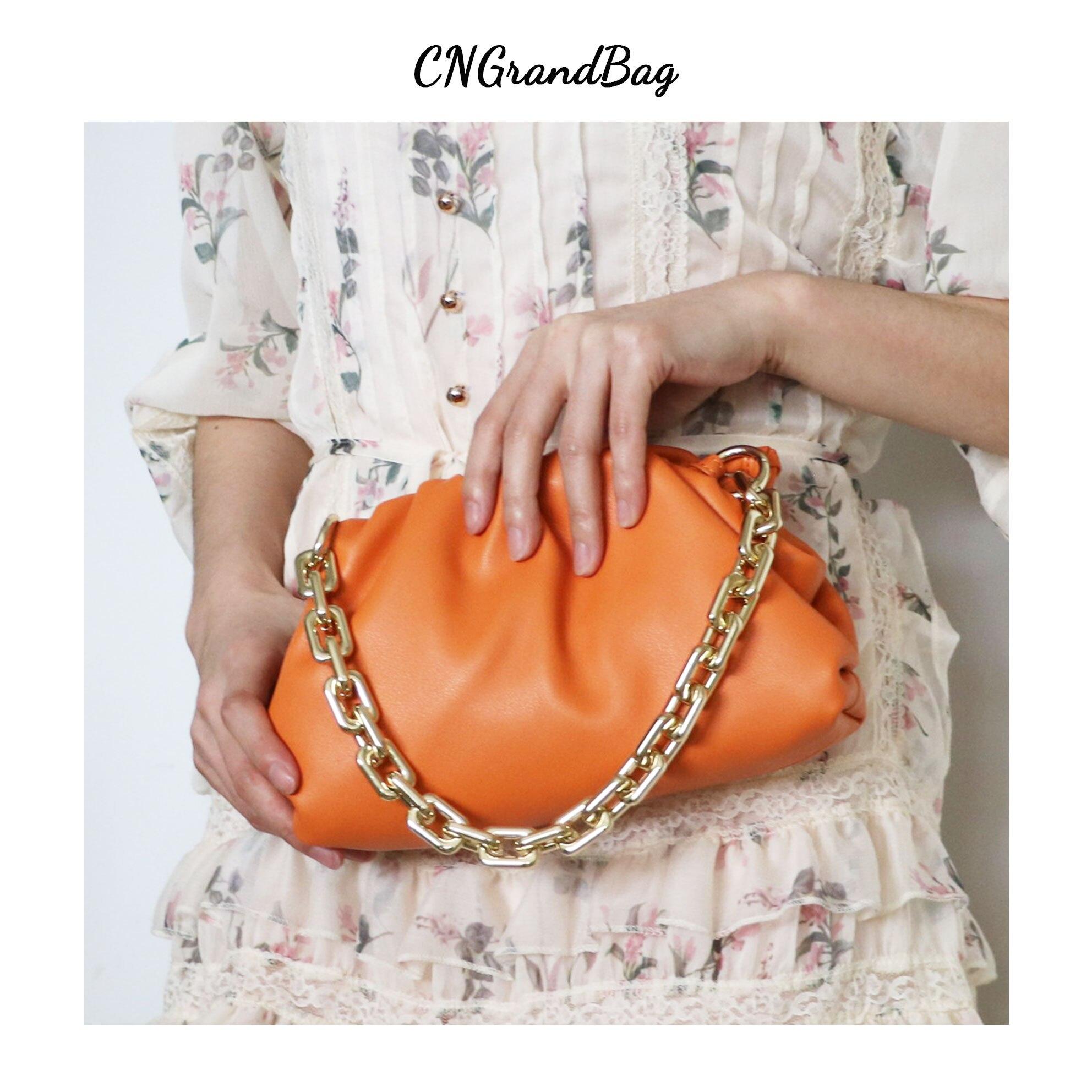 Модная женская сумочка из натуральной кожи, густая облачная сумка на цепочке для девушек, клатч пельмень, женский Хобо на плечо|Сумки с ручками| | АлиЭкспресс