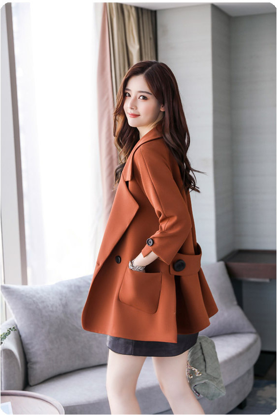 Autumn jacket women M-2XL plus size pink green beige coat 19 new long sleeve lapel fashion short paragraph jacket feminina LR484 35