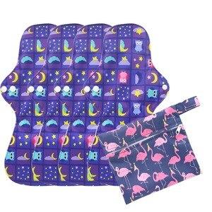 Image 2 - Tampons hygiéniques en bambou, Extra Large, avec 1 sac humide, 4 pièces, tampons menstruels, flux important, lavables