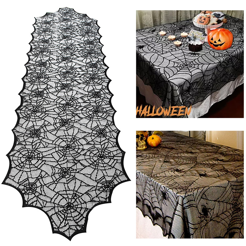 Halloween Decoration Lace Spider Web Skeleton Skull Tablecloth Black Fireplace Mantel Scarf Event Party Decoration Supplies