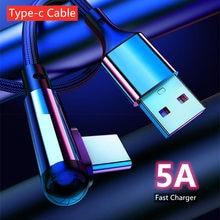 90 graus de carga rápida tipo c cabo de dados usb c para samsung s20 huawei p40 xiaomi 10 tipo-c carregador do telefone móvel cabo de cabo de náilon