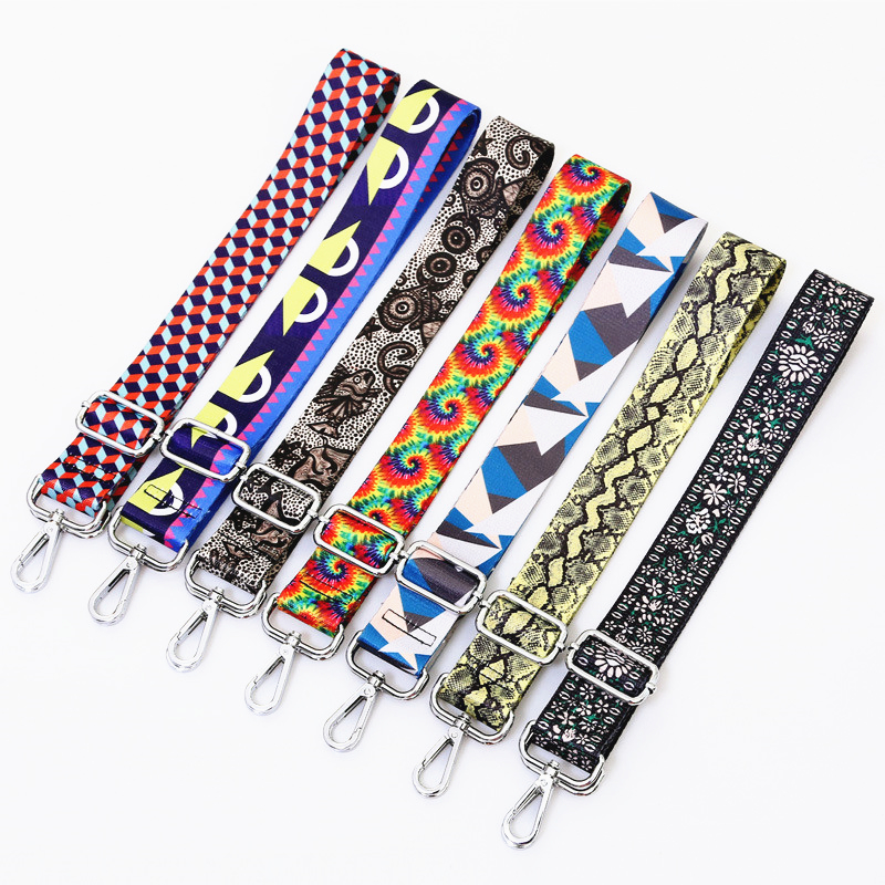 Nylon O bag Handles Strap Adjustable Bag Straps for Women Shoulder Belt Bags Accessories Rainbow Messenger Strap Handles for Bag