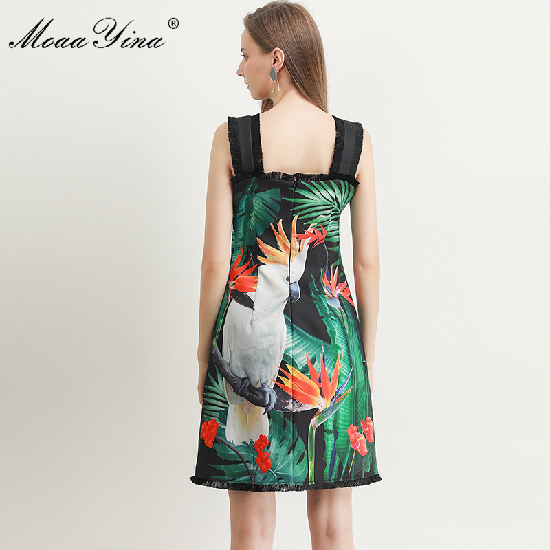 Image 5 - MoaaYina Fashion Designer dress Spring Summer Womens Dress Green  leaf Parrot Print Beading Spaghetti strap DressesDresses   -