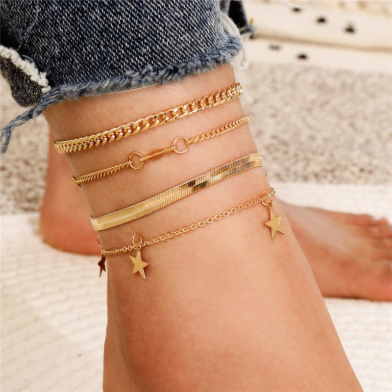 Modyle 4pcs/set Gold Color Beach Foot Jewelry Fashion Simple Snake Chain Anklets For Women Boho Stars Anklet