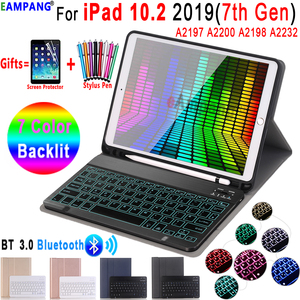 Image 1 - 7 Colors Backlit Keyboard Case for iPad 10.2 Case with Pencil Holder for Apple iPad 7th Generation A2200 A2198 A2197 Cover Funda