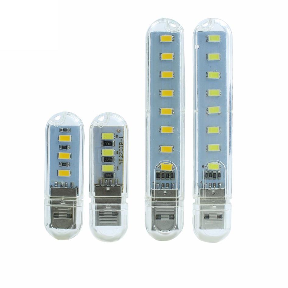 Mini portátil usb luz noturna 3 leds/8 leds 5730 smd usb led no livro luzes 5 v para computador portátil portátil computador lâmpada de acampamento de energia móvel