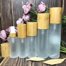 All Bamboo cover 50ml 100ML 150ML Frosted Clear lotion pump top bamboo lotion bottle 30ml Frosted Glass bamboo Mist Spray Bottle(China)