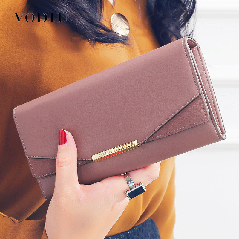 Leather Women's Wallets New Fashion Simplicity Multifunction Large Capacity Purses Long Female Wallet Women Solid Color Purses