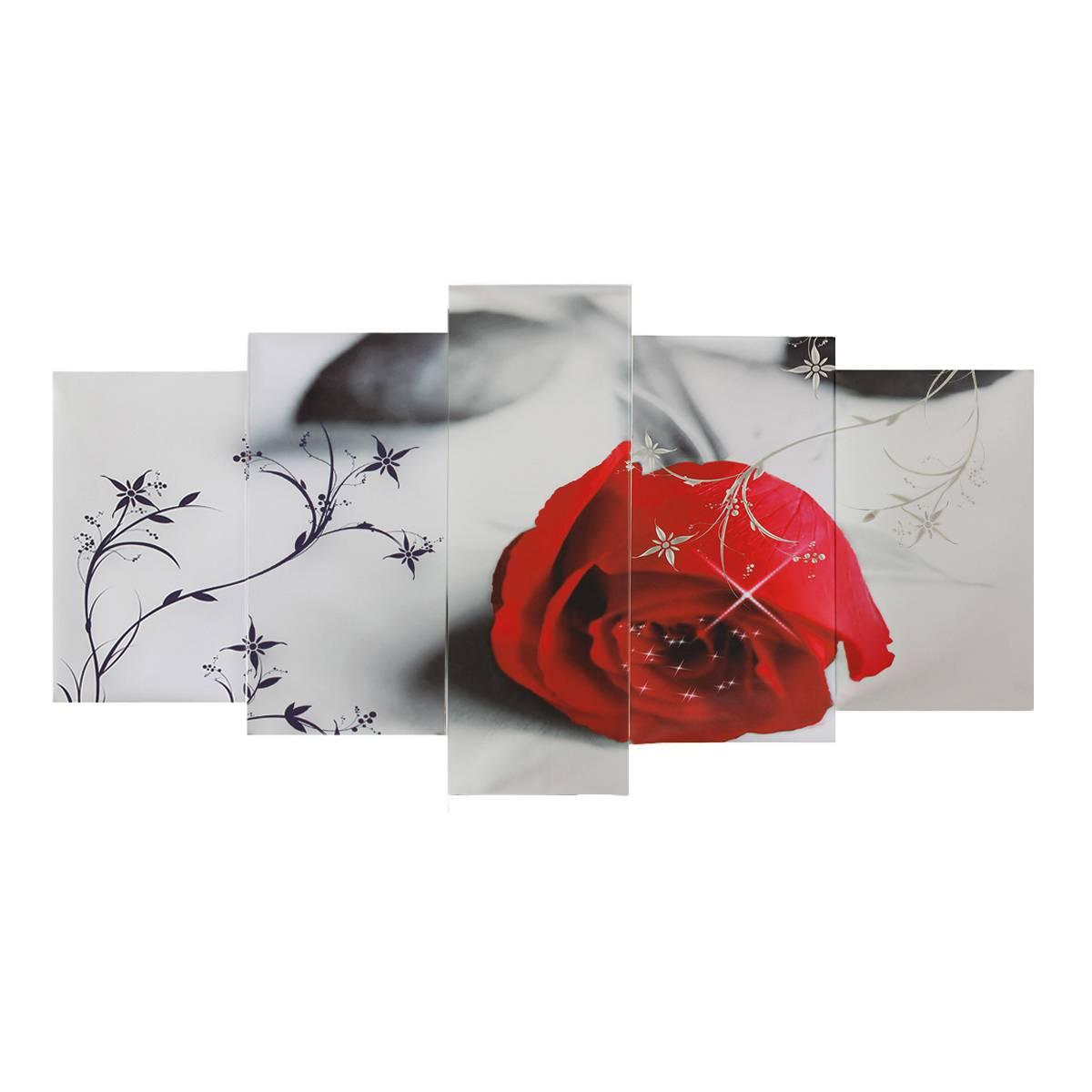 Toile peintures mur Art HD imprime décor à la maison sans cadre 5 pièces belles affiches de Rose rouge pour salon fleurs photos