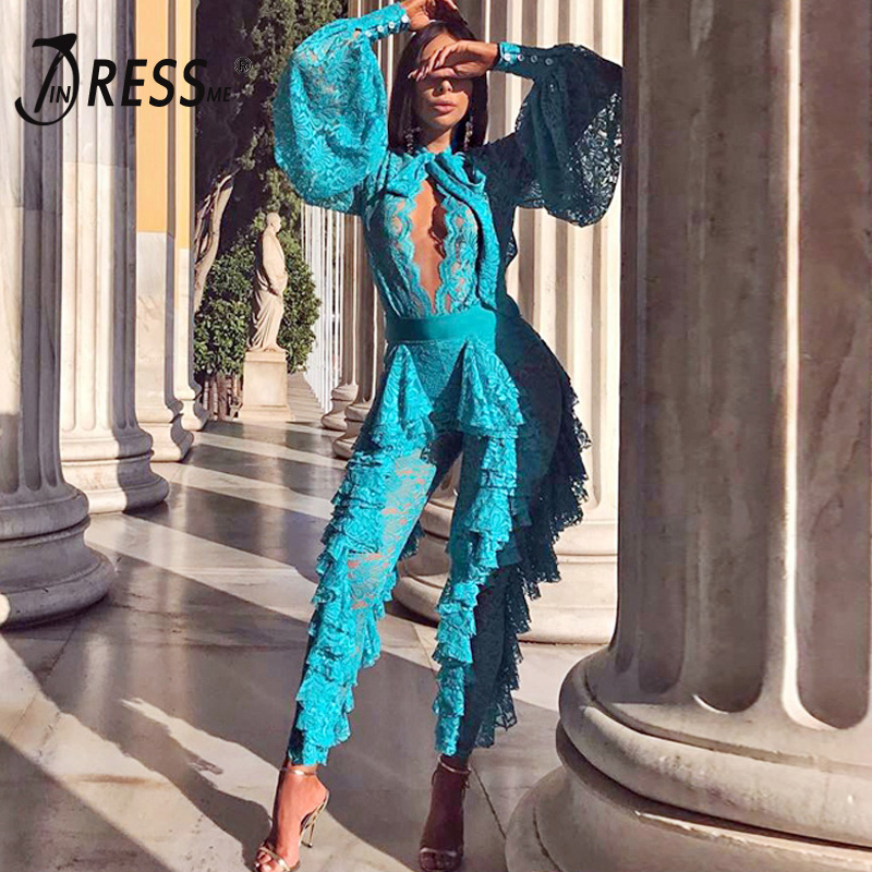 INDRESSME 2019 Women's Bandage Draped Lace Jumpsuit O Neck Full Long Sleeve New Sexy Fashion Bodycon Vestido Club Party Jumpsuit