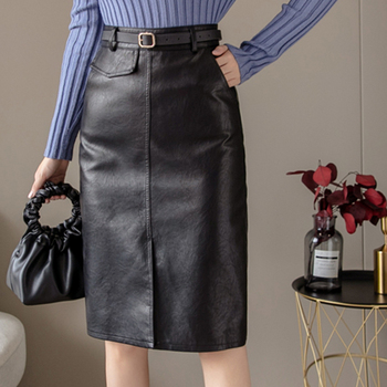 shintimes Black PU Leather Skirt Women 2020 Autumn And Winter Belt Midi Skirt Sexy High Waist Split Skirts Office A-Line Skirt self belt ruffle waist high split skirt