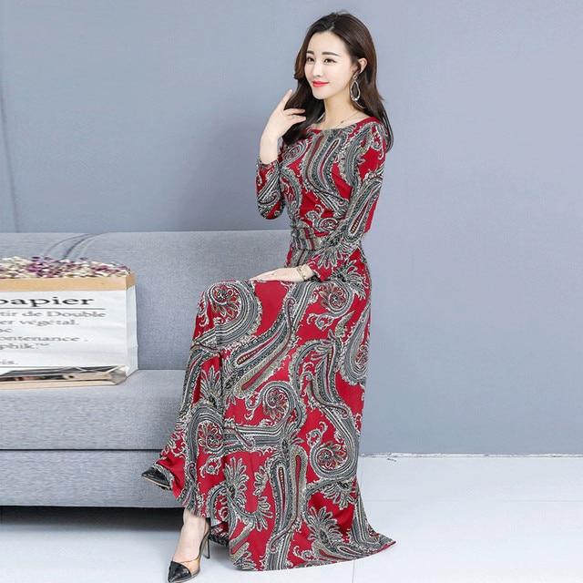 Bohemian Printing O-neck Long Dress  Long-sleeved  4