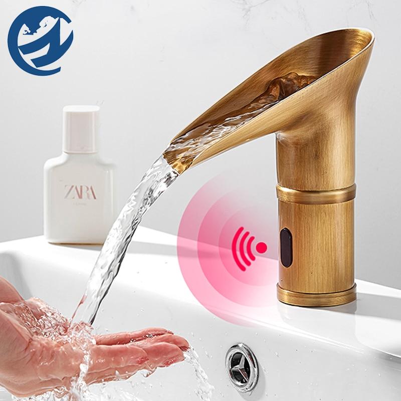 Sensor de bronze inteligente torneira da bacia torneira do banheiro pia bacia torneiras misturador quente e frio guindaste da bacia bacia torneira da pia