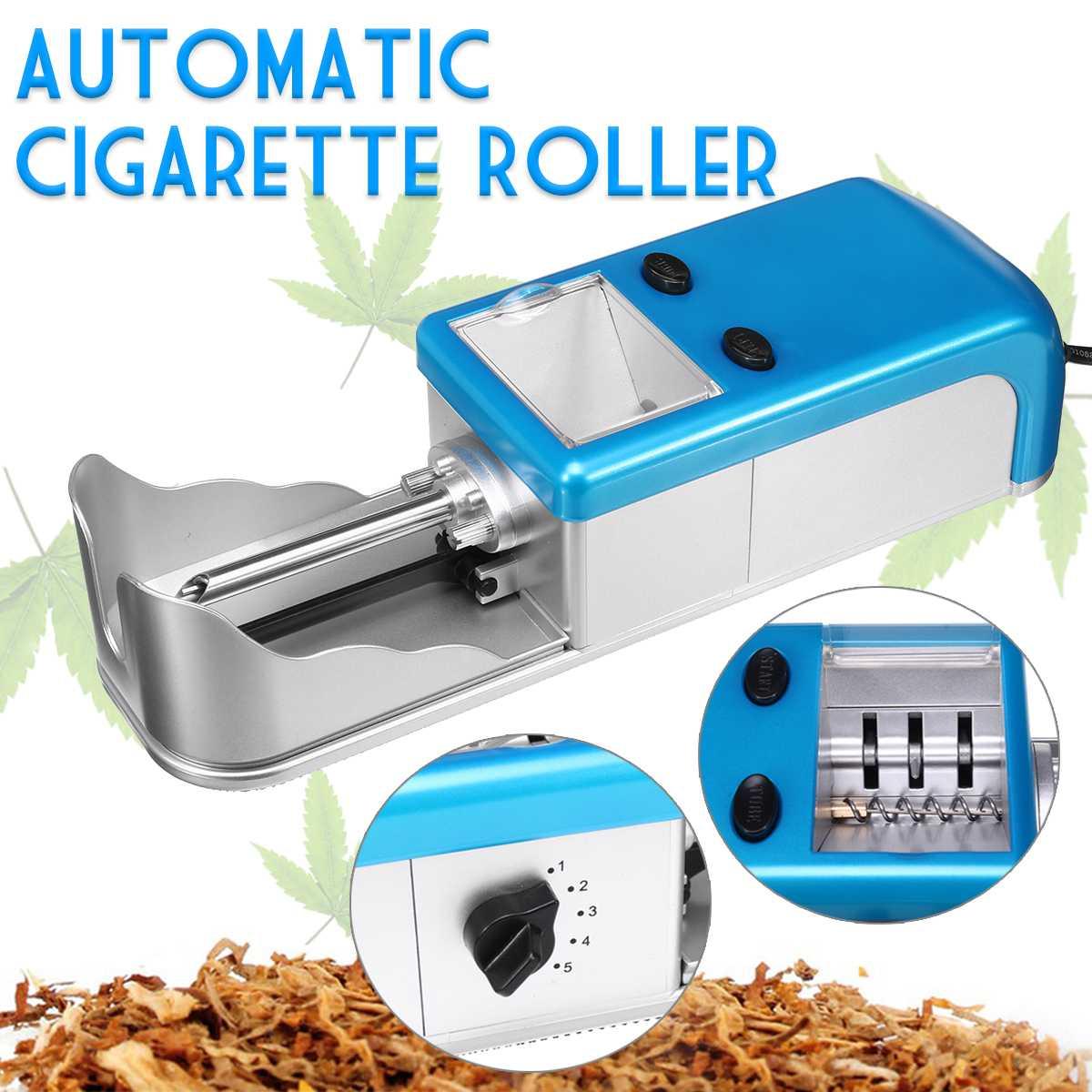 Голубая электрическая автоматическая машина для скручивания сигарет, с функцией регулирования плотности, для курения табака, ролик