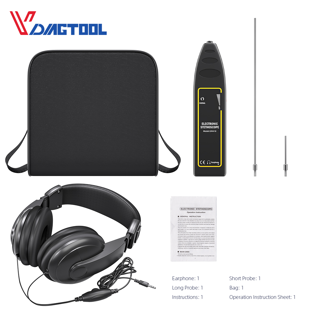 Vdiagtool Car Cylinder Stethoscope Auto Diagnostic Tool Engine Analyzer Machine Noise Tester Detector Electronic Stethoscope
