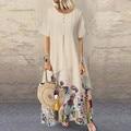 Летнее платье 2020, женское длинное платье с принтом, винтажные женские платья из хлопка и льна, женские платья-кафтан, Vestido Femme, Сарафан # J3