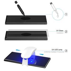 Image 5 - Szkło UV z odciskiem palca odblokuj dla Samsung Galaxy Note 10 Plus ochraniacz ekranu szkło hartowane dla Note 10 Plus zakrzywiona pokrywa