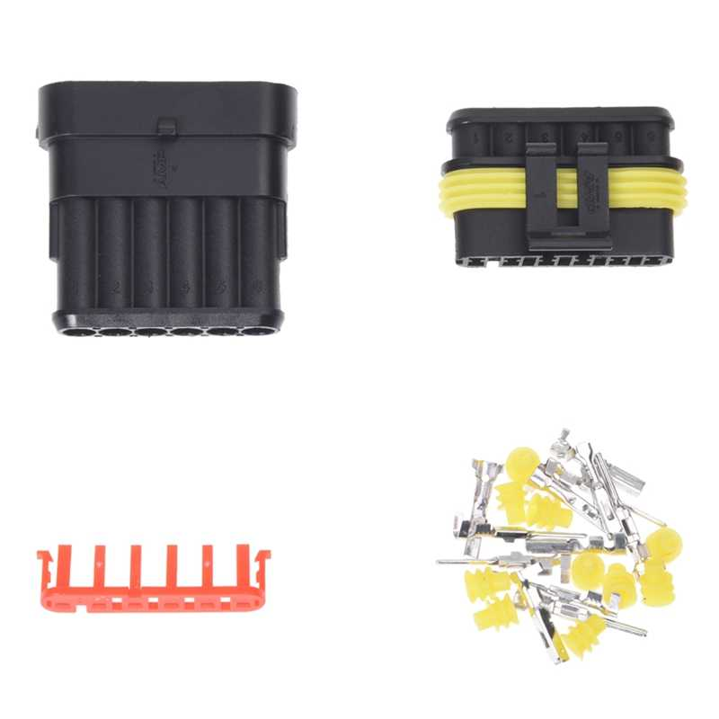 Full-Kit 6 Pin Way Waterdichte Elektrische Draad Connector Plug