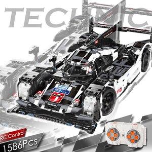 Image 1 - 1586 sztuk Technic Super Sport samochód wyścigowy klocki do budowy MOC zdalnie sterowanym samochodowym zestaw klocków kreator ekspert dla dzieci zabawki dla dzieci prezenty