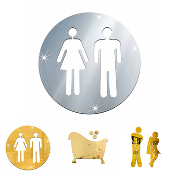 3D Toilet Entrance Sign Sticker Acrylic Mirror Stickers Adhesive Wall Sticker Toilet Washroom Door Sign image