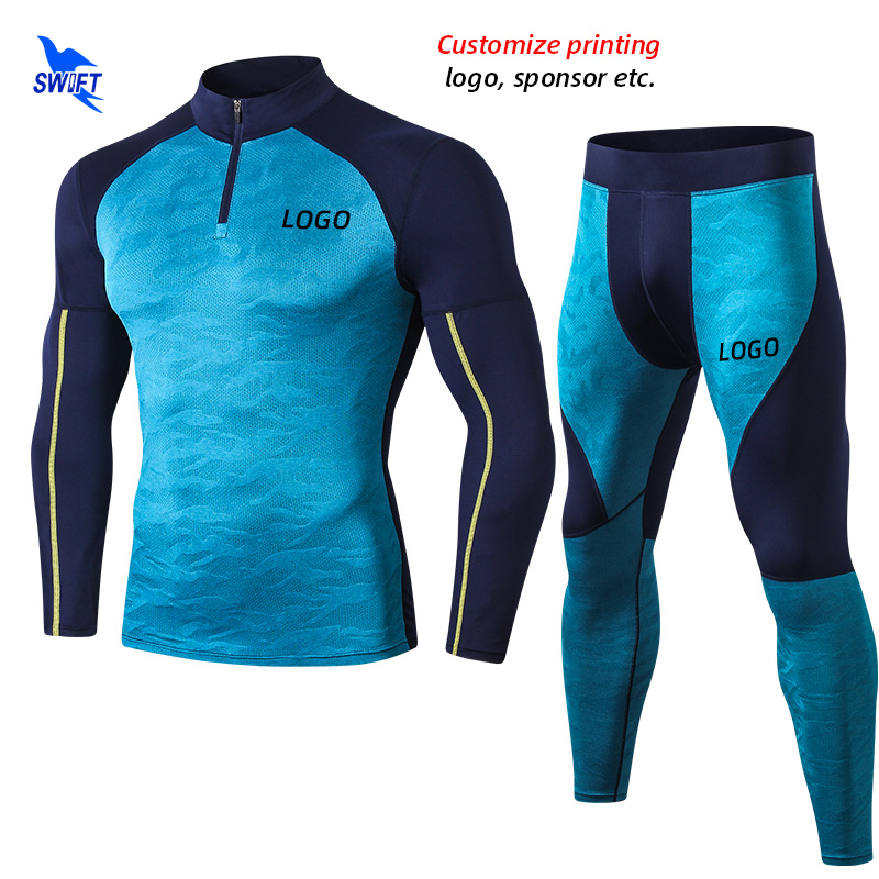 2020 NEW Men's Quick Dry 2Pcs Sport Suit Stretch Long Sleeve Shirt+Pants Running Set Gym Fitness Compression Tracksuit Customize