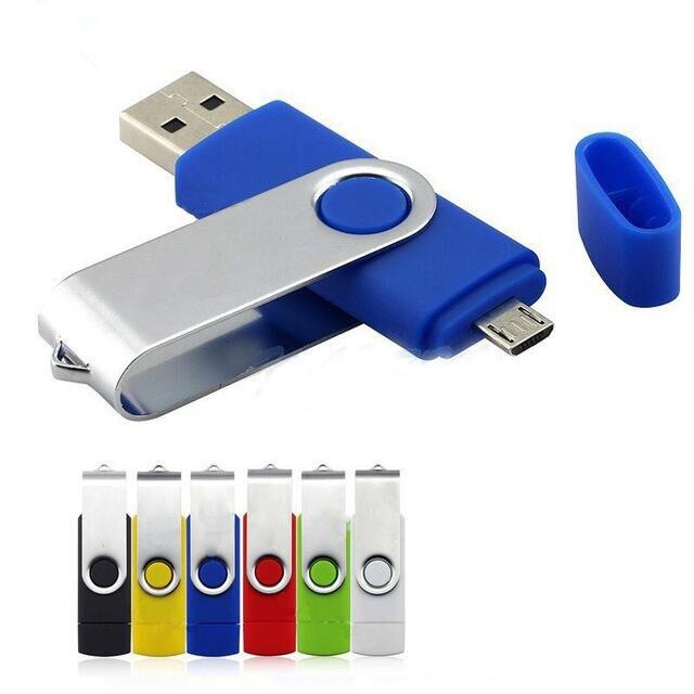 OTG USB Flash Drive 64GB 32GB 16GB 8GB High Speed Metal USB Otg Pen Drive 128gb Pendrive Memory Stick For Smartphone/PC 2 In 1