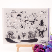 Clear Stamps Christmas Tree Animals Transparent Stamp for DIY Scrapbooking Silicone Seal Making Card Photo Album Decor Crafts 4 6inches animals clear stamps seal for diy scrapbooking album crafts decor cards transparent stempels silicone stamp 2019 new