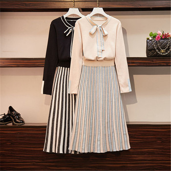 XL-4XL High Quality Women Neckline Bow Knit Pullovers+Shiny Striped Pleated Fold Skirt 2 Piece Set OL Women Fashion Sweater Set abstract striped pleated skirt