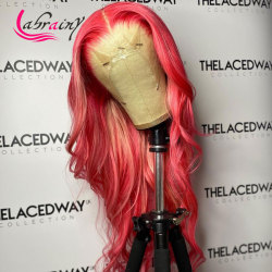 HD Transparent Pink Human Hair Wig Colored Straight Highlight Blonde Pre Pluck Lace Front Wigs Lace Frontal Wig Bleached Knots