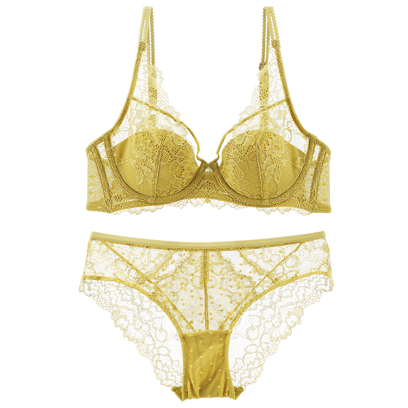 Lingerie Women Push Up Thin Padded Underwired Pattern Sexy Lace Lingerie 3 Colors Underwear Set