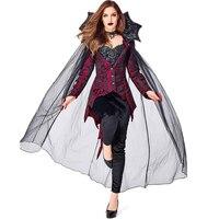 4pcs/set Women Vampire Count Queen Halloween Cosplay Costumes Ladies Blouse Pants Mesh Cloak NecklaceSchool Performance Clothing