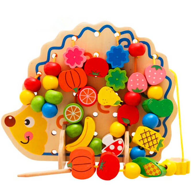 Montessori Toys Early Childhood Learning Puzzles Wooden Toys 82 Hedgehog Fruit Beads Hands Ability Exercise
