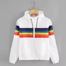 Women Hoodies Long Sleeve Rainbow Patchwork O Neck
