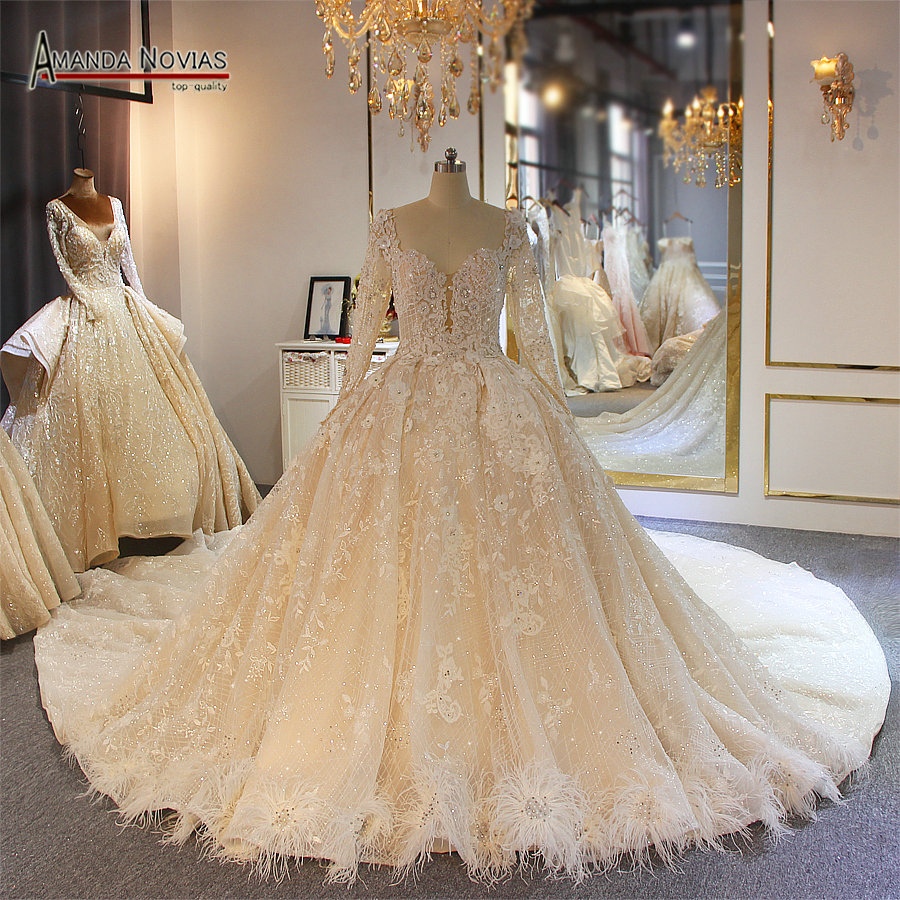 Long sleeves lace plus size wedding dress real work photoWedding Dresses   -