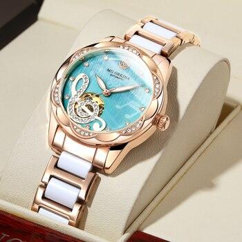 2021 New Designer Mechanical Watches Women Luxury Top Brand Ceramic Stainless Steel Diamond Music Ladies Automatic Wristwatches 1